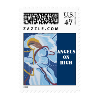 Angels on High, Angel in blue with harp Postage