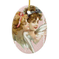 Angels on pink flowered background, christmas ornaments