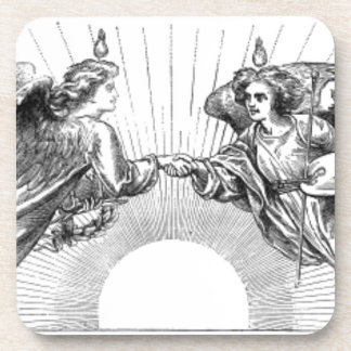 Angels over depiction of sun. coaster
