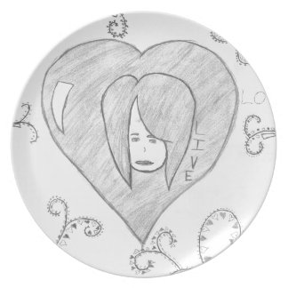 Angels Peace Love Live Drawing Dinner Plate