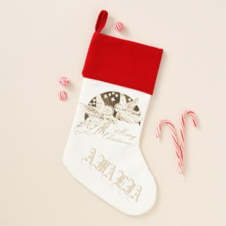 Angels Playing Trumpet Merry Christmas with Name Christmas Stocking