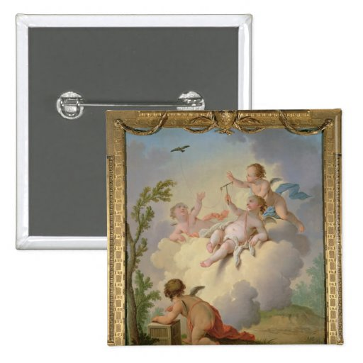 Angels Playing with a Bird in a Landscape 2 Inch Square Button