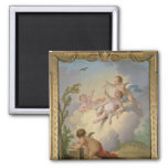 Angels Playing with a Bird in a Landscape 2 Inch Square Magnet