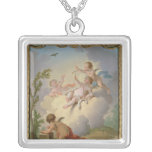Angels Playing with a Bird in a Landscape Square Pendant Necklace