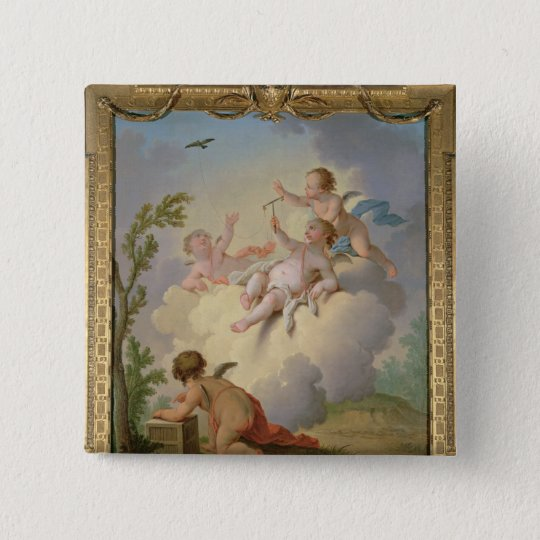 Angels Playing with a Bird in a Landscape Pinback Button
