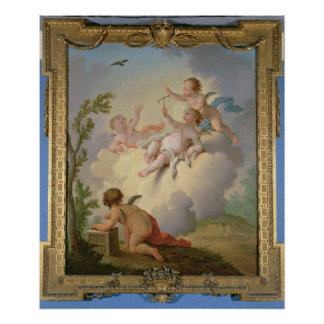 Angels Playing with a Bird in a Landscape Poster