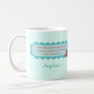 Angels Quote Psalm 91:11 Monogram Tea Coffee Mug