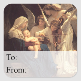 Angels Serenade Mary Christmas Gift Tag Square Sticker