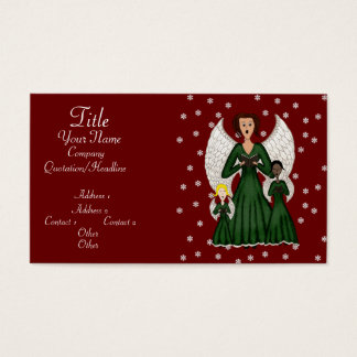 Angels Singing Carols (Green) Business Card