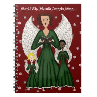 Angels Singing Carols (Green) Spiral Notebooks