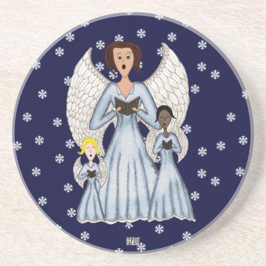 Angels Singing Carols Sandstone Coaster