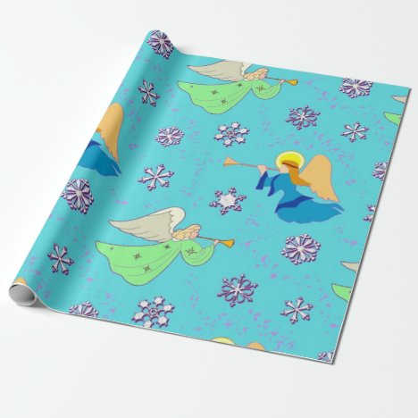 Angels, Snowflakes and Trumpets in Blue Wrapping Paper