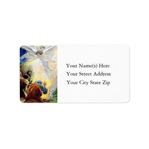 Angels Visit Shepherds Vintage Address Label