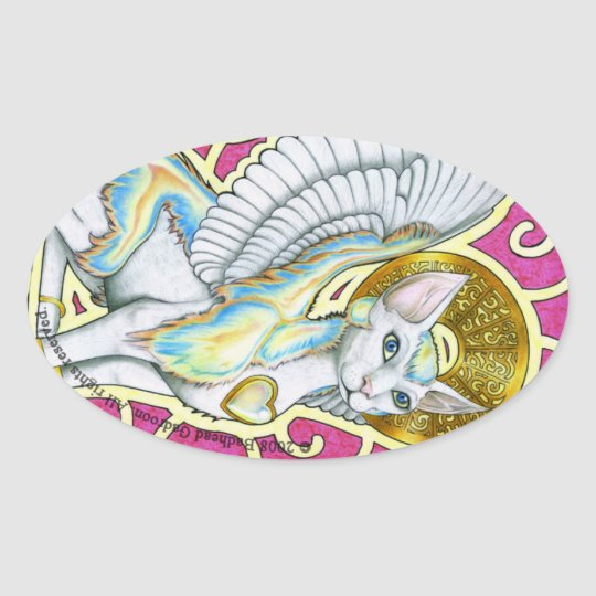 Angels Walk On 4 Paws Oval Sticker