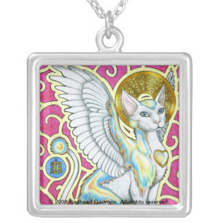 Angels Walk On 4 Paws Square Necklace