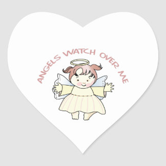 ANGELS WATCH OVER ME HEART STICKER