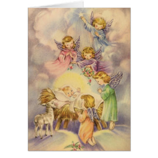 Angels Watching Over Baby Jesus Greeting Card