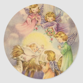 Angels Watching Over Baby Jesus Classic Round Sticker