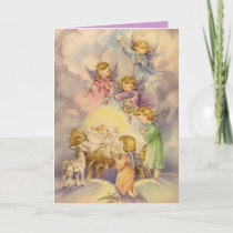 Angels Watching Over Baby Jesus Holiday Card