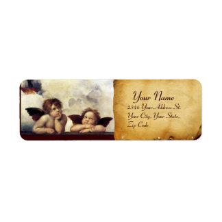 ANGELS / Winged Cherubs,,brown parchment,white Custom Return Address Label