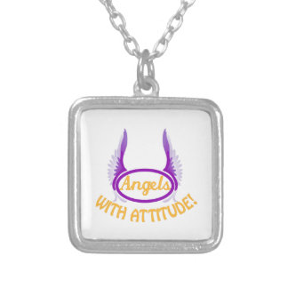 Angels With Attitude Square Pendant Necklace