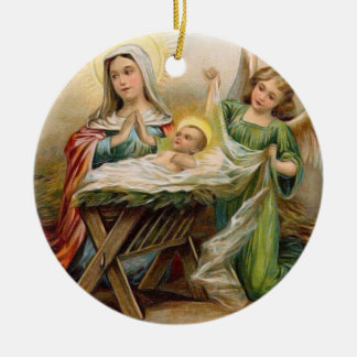 Angels with baby Jesus in the Manger Vintage Image Ceramic Ornament