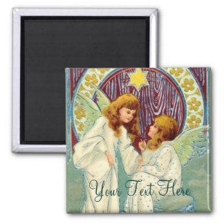 Angels With Stars And Flowers Fridge Magnets