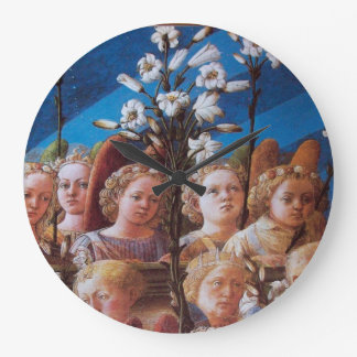 ANGELS WITH WHITE LILIES LARGE CLOCK
