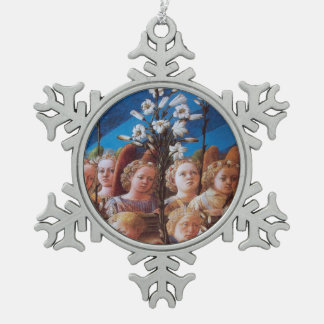 ANGELS WITH WHITE LILIES SNOWFLAKE PEWTER CHRISTMAS ORNAMENT