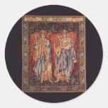 Ángelus Laudantes, ángeles del vintage de Burne Pegatina Redonda