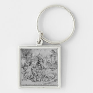 Anger, 1557 Silver-Colored square keychain