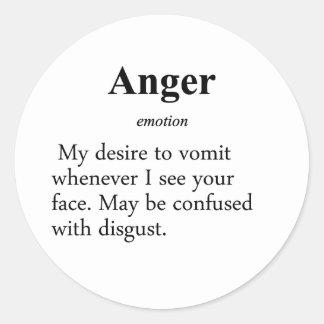 Anger Definition Classic Round Sticker