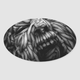 Anger In 3 D Oval Sticker
