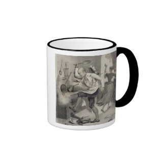 Anger in the Kitchen, from a series of prints depi Ringer Coffee Mug