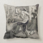 Anger in the Kitchen, from a series of prints depi Throw Pillow