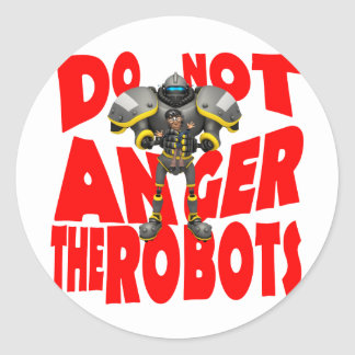 Anger Robots Classic Round Sticker