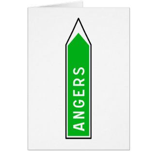 Angers, Road Sign, France Card