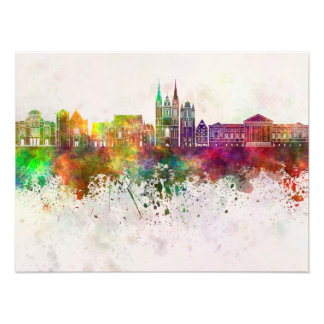 Angers skyline in watercolor background photo print