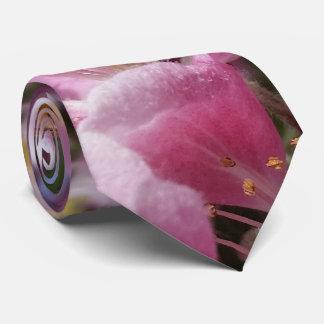 Angery Honey Bee On Pink Crabapple blossom Neck Tie