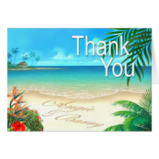 Angie & Barry Exotic Beach Thank You ::custom:: Card
