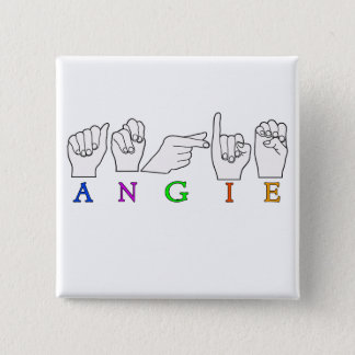 ANGIE NAME ASL FINGER SPELLED FEMALE PINBACK BUTTON