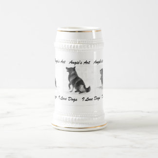 """Angie's Art """"I love Dogs"""" Beer Stein"""