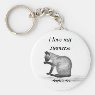 """Angie's Art """"Siameese Cat"""" Keychain"""