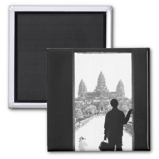 Angkor Cambodia, Doorway & Person Angkor Wat 2 Inch Square Magnet