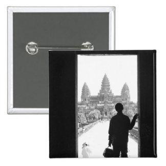 Angkor Cambodia, Doorway & Person Angkor Wat Button