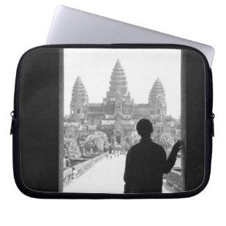Angkor Cambodia, Doorway & Person Angkor Wat Laptop Computer Sleeves