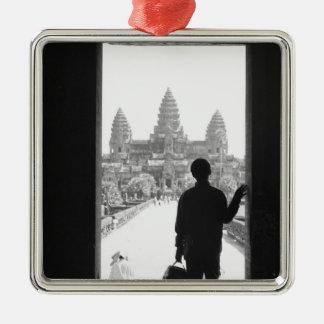 Angkor Cambodia, Doorway & Person Angkor Wat Metal Ornament