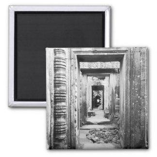 Angkor Cambodia, Doorways Preah Khan 2 Inch Square Magnet