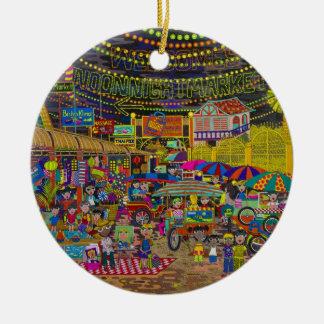 'Angkor Night Market' Round Ceramic Decoration