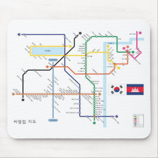 Angkor Temple Map in Korean Subway Style mouse mat